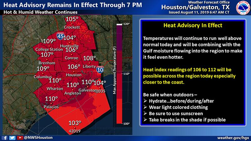 Heat Advisory Extended for Houston Until 7 PM Sunday, Aug 11